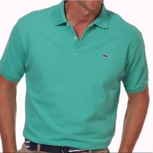Vineyard Vines green pique cotton slim fit polo